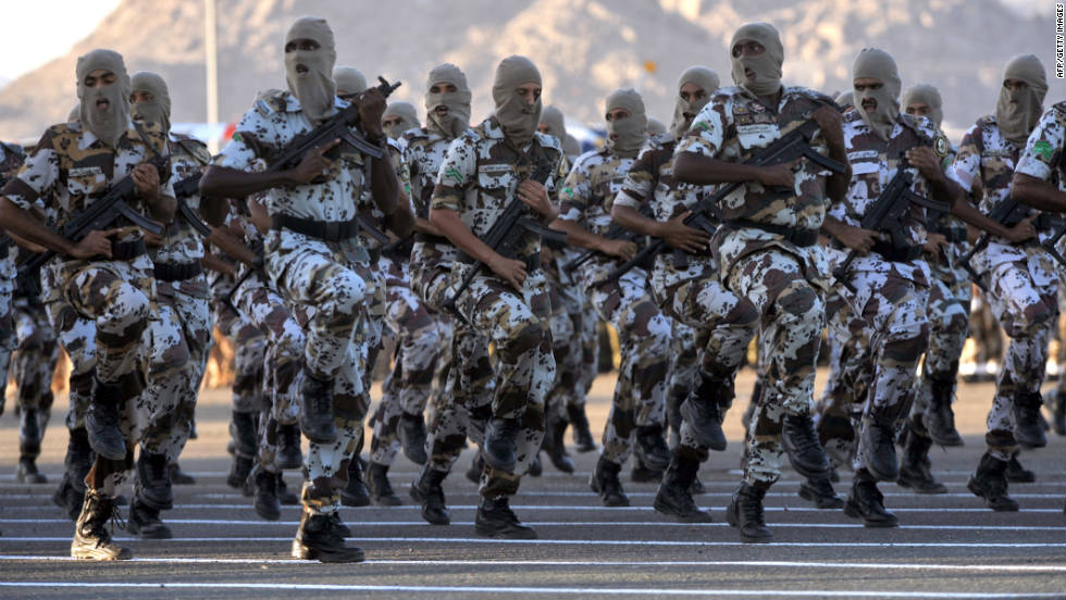 Saudi Interior Ministry special forces perform before Interior Minister and Crown Prince Nayef bin Abdelaziz (unseen) during a special parade on the eve of Hajj season in Mecca on Tuesday, November 1.