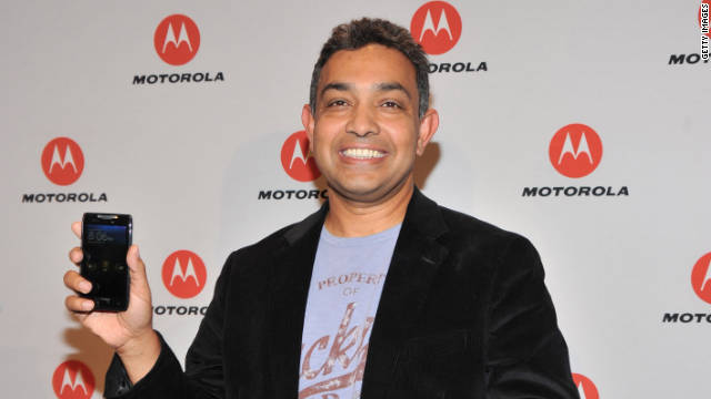 Motorola Mobility CEO Sanjay Jha celebrates the upcoming Droid Razr before the company joins Google.