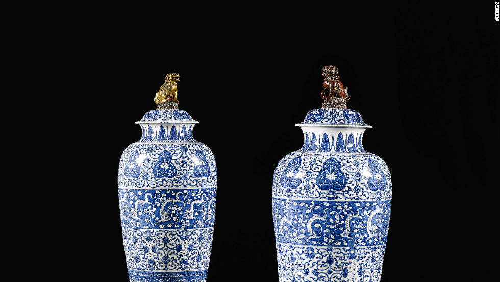 "A matched pair of blue and white ""soldier"" vases and covers, from the Qing dynasty, Kanxi period, on sale at Sotheby's London on the 9th of November and estimated to sell for between $160,000 (£100,000) and $240,000 (£150,000)."