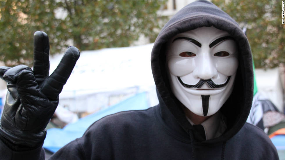 A member of Anonymous UK at the Occupy London camp outside St. Paul's Cathedral in London last November.