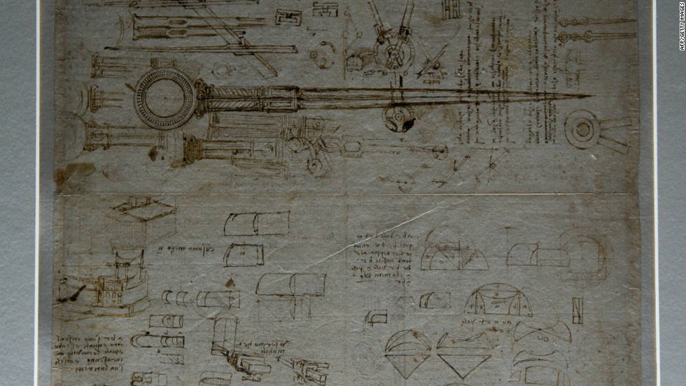 "The wide range of Leonardo da Vinci's ideas for inventions is shown through many surviving journals and sketchbooks, or ""codices."" Experts see these codices as direct links into da Vinci's mind. Rather than approaching them as linear documents, they are seen as a collection of thoughts and ideas. This is a page from the ""Atlantic Codex,"" which is part of the Italian master's largest collection of drawings and writings."