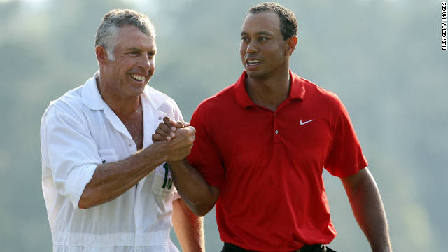 Tiger Woods (right) with caddie Steve Williams during the 2011 Masters on April 10, 2011 in Augusta, Georgia.