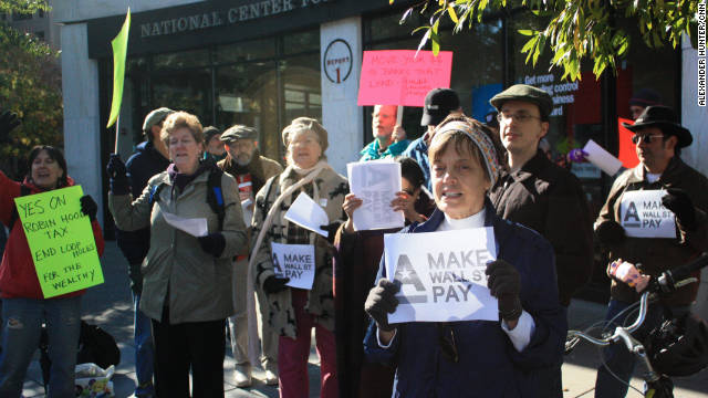 The groups Occupy D.C. and Make Wall St. Pay protest at Dupont Circle in Washington on Saturday.