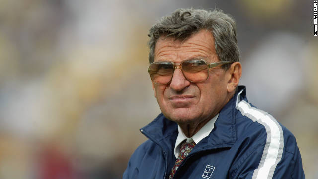 ANN ABOR, MI - OCTOBER 12: Head Coach Joe Paterno of the Penn St. Nittany Lions watches the game against the Michigan Wolverines on October 12, 2002 at Michigan Stadium in Ann Arbor, Michigan. The Wolverines beat the Nittany Lions 27-24 in the first overtime ever in Michigan Stadium. (Photo by Danny Moloshok/Getty Images)