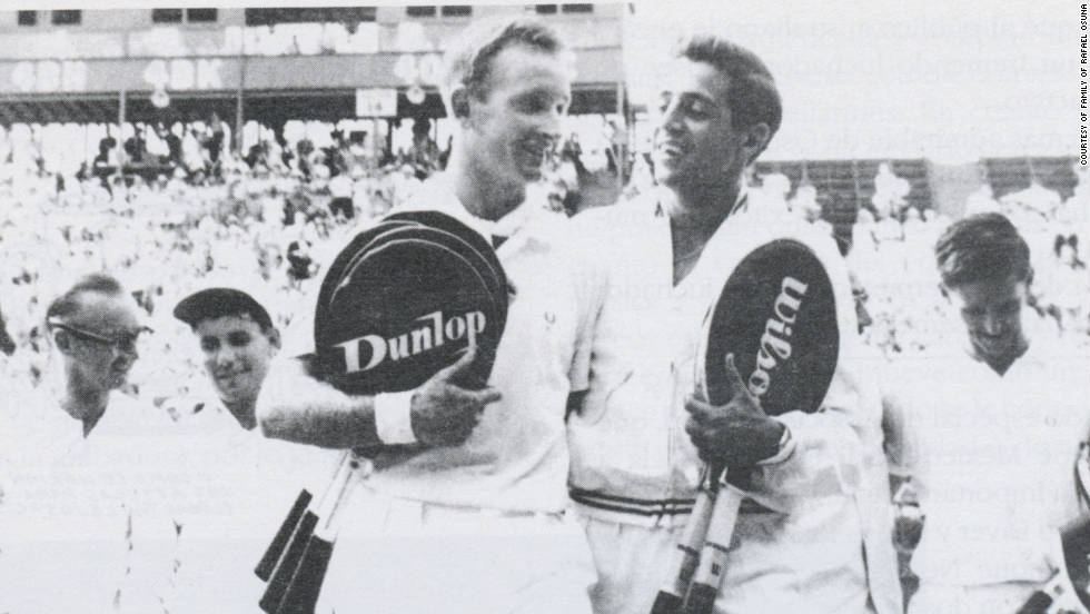 Rafael Osuna walks off court in the 1962 Davis Cup final with Australian legend Rod 'Rocket' Laver.
