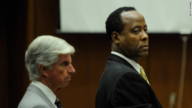 Dr. Conrad Murray, right, at his trial. He was convicted of involuntary manslaughter in the death of Michael Jackson .
