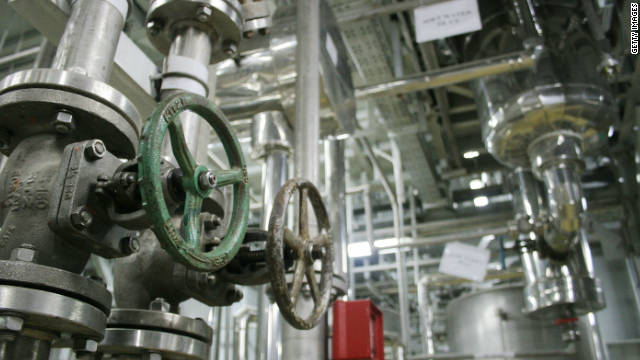 The inside of a uranium conversion facility producing unit is seen on March 30, 2005 just outside the city of Isfahan in Iran.