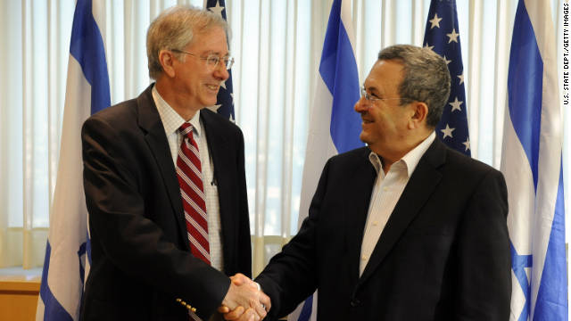 U.S. Middle East policy adviser Dennis Ross meets with Israeli Defense Minister Ehud Barak in August 2010.