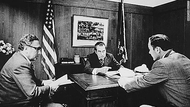 Secretary of State Henry Kissinger, President Nixon and Gen. Alexander Haig meet at Camp David to discuss Vietnam in 1972.