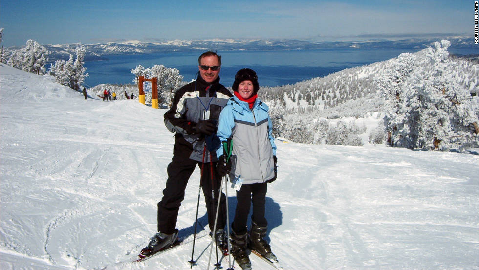 """A friend took this picture of my husband, Tony, and me skiing in heavenly Lake Tahoe,"" Lezlie Smith said of this photo she shared."