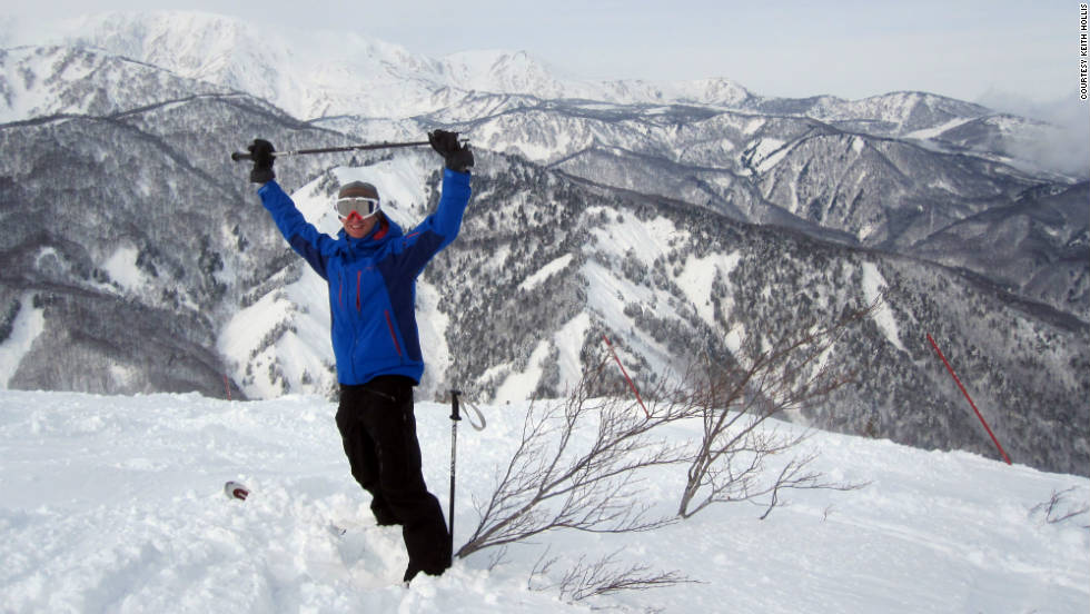 Keith Hollis had one of his friends snap a shot of him with the Nagano mountains in the background at Happo One in Japan.
