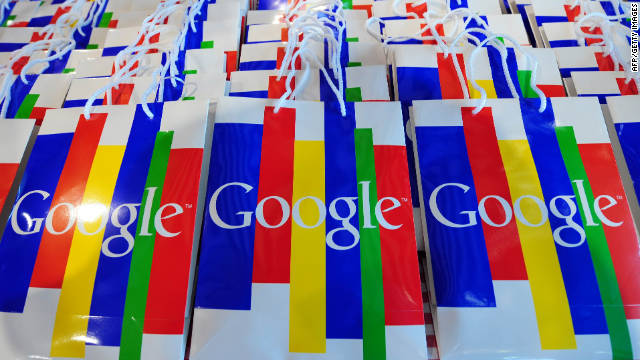 The Google logo can be seen on bags during a press conference on November 18, 2010 in Hamburg on the launch of Google's street info service 'Street View' from 20 German cities, among them Berlin, Frankfurt/M. and Munich. Street View, which allows users to 'walk' through towns and cities using photos taken by specially equipped vehicles, is already online in around 20 countries but ran into fevered opposition in Germany. AFP PHOTO / JOHANNES EISELE (Photo credit should read JOHANNES EISELE/AFP/Getty Images)