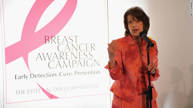 Evelyn Lauder, who created the iconic pink ribbon for breast cancer, died Saturday at 75.