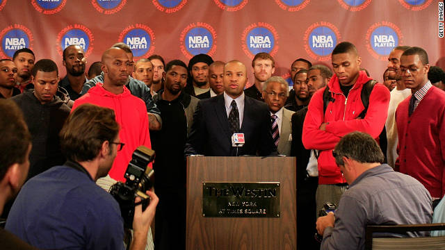 Derek Fisher, president of the NBA Players Association speaks at a press conference on November 14 in New York.