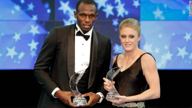 Usain Bolt was named the IAAF's male athlete of the year, with South Africa's Sally Pearson winning the women's award.