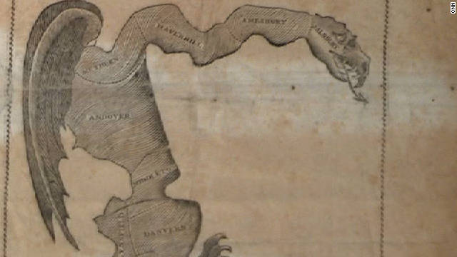"An 1812 cartoon described as a ""Gerrymander"" lampooned a legislative district drawn by Massachusetts Gov. Eldridge Gerry."