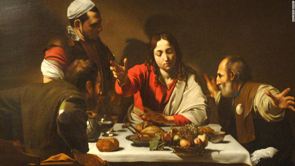 "Caravaggio's painting, ""The Supper at Emmaus,"" contains subtle clues pointing to the true identity of the beardless man at the head of the table."
