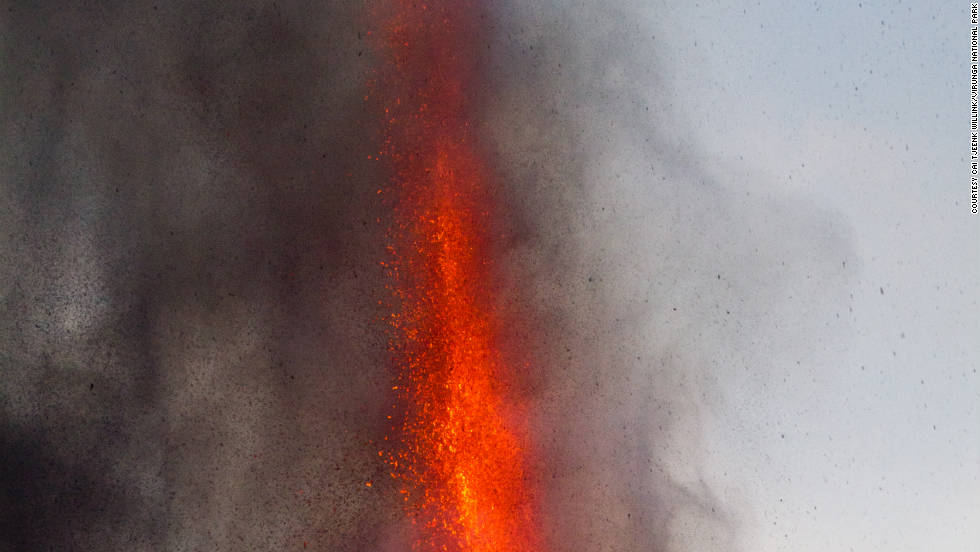 Mount Nyamulagira is considered to be the most active volcano and is currently ejecting lava fountains as high as 300 meters in the air. The incandescent lava is currently flowing into uninhabited areas in the south of the park.
