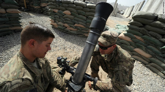 U.S. soldiers from 2-87 Infantry Battalion fire mortars in August 2011 in Kandahar province , Afghanistan.