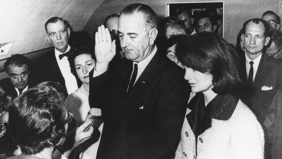 This is likely the most famous photograph ever taken aboard any presidential aircraft. Hours after the attack -- and shortly before SAM 26000 left Dallas -- Vice President Lyndon Johnson was sworn in as president with the first lady at his side. Federal Judge Sarah Hughes administered the oath, the only woman ever to do so.