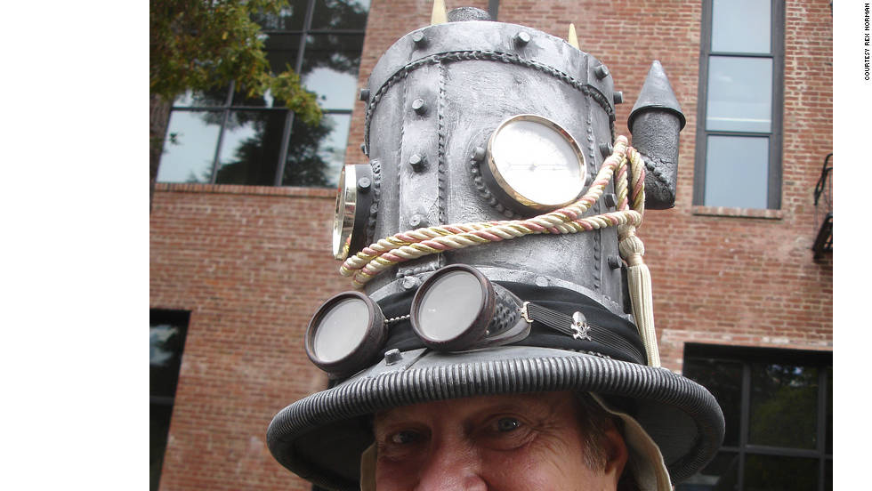 Rex Norman models one of his steampunk tophats.