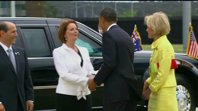 President Obama arrives in Australia