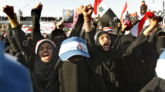 Yemeni women chant slogans against embattled president Ali Abdullah Saleh during a pro-democracy demonstration in Sanaa on October 24, 2011.