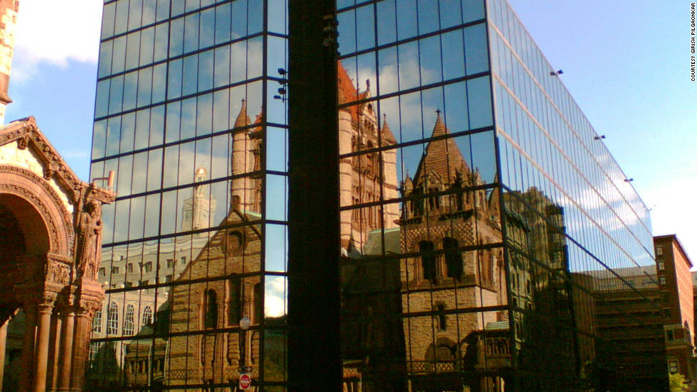 Girish Pilgaonkar took this photo of the Trinity Church reflection.