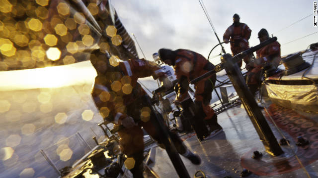 Crew members on board 'PUMA Ocean Racing powered by BERG', during the first leg of the Volvo Ocean Race on November 6.