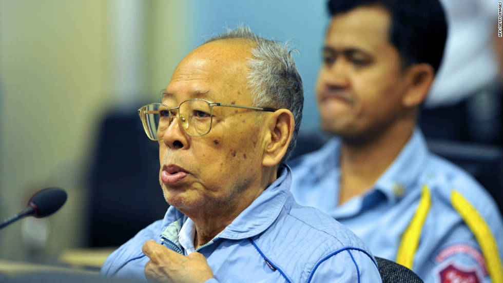 Former Khmer Rouge Deputy Prime Minister Ieng Sary died Thursday, escaping judgment for war crimes at the hands of a tribunal. He is pictured here in the Phnom Penh courtroom in 2011.