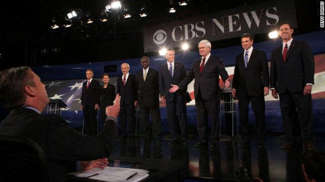 GOP candidates, shown at a November 12 debate, will discuss foreign policy in another debate Tuesday evening.
