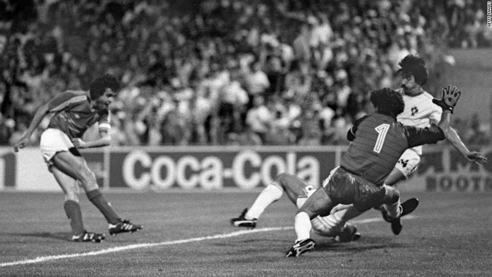 No player has dominated a finals tournament  the way Michel Platini did in 1984. On home soil, Platini weaved his magic in devastating style, scoring hat-tricks against Belgium and Yugoslavia on his way to a record nine goals. The highlight came in a memorable semifinal against Portugal when, 2-1 down with six minutes of extra time remaining, France fought back to win 3-2 with the great man himself scoring the last minute winner.