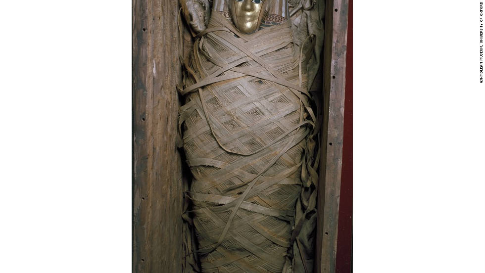 The items in the museum's collection cover 5,000 years of history in the Nile Valley. <br /><br />Pictured is a Ptolemaic coffin and mummy with gilt mask and loral garlands, c.30 BC-AD 641.