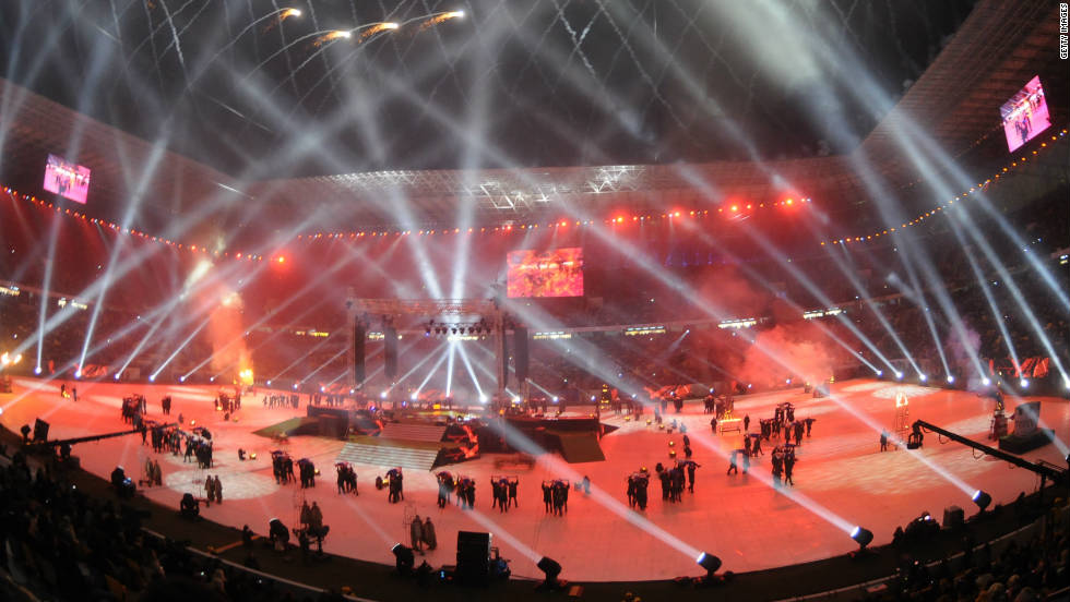 The Ukrayina Stadium is home to Ukrainian outfit Karpaty Lviv and is pictured here during an explosive opening ceremony in October 2011. The arena holds just under 35,000 fans and will be the venue for three Group B ties.