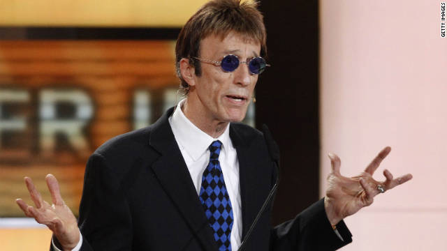 Robin Gibb, shown here in February 2011, was hospitalized for abdominal pain and inflammation of the colon.