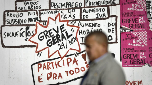 Portugal's strike was called by two of the country's main unions amid widespread anger at proposed austerity measures.
