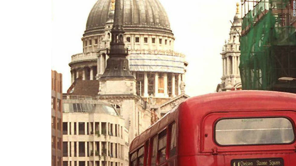 An old Routemaster wending its way east towards St Paul's Cathedral.