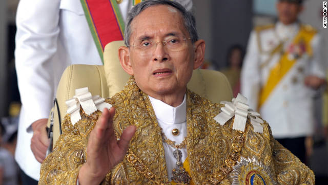King Bhumibol Adulyadej waves to well-wishers after the royal ceremony for his 83rd birthday in Bangkok on December 5, 2010. The Thai King is the world's longest reigning monarch and is reverred by most Thais as a unifying force in a politically turbulent nation.
