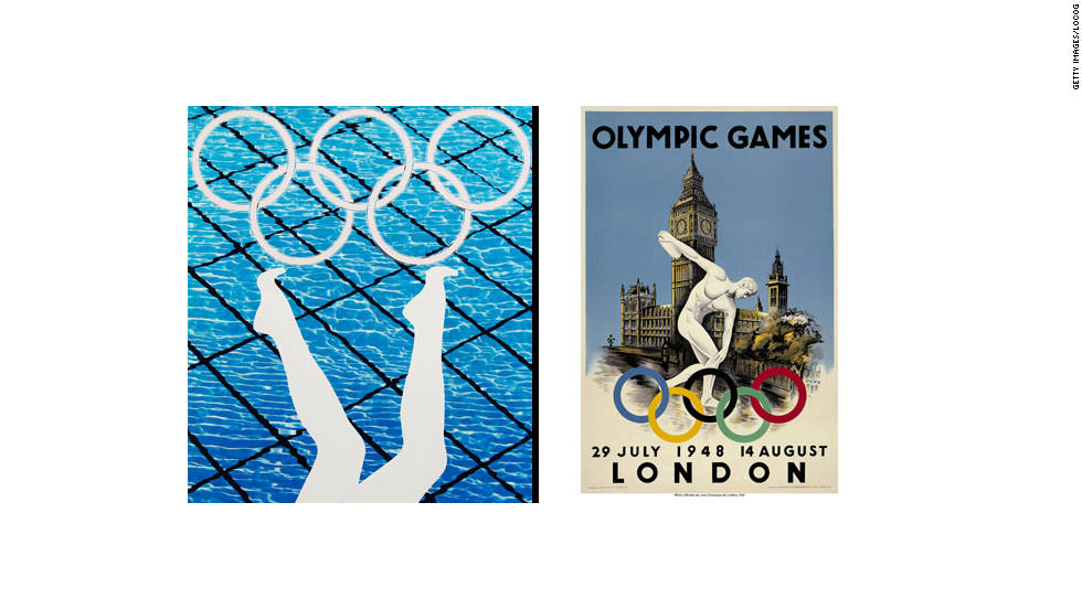 Emin's compatriot Anthea Hamilton created the piece shown on the left, alongside the poster used when Britain hosted the 1948 Games.