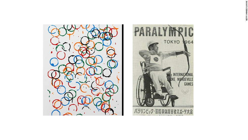 Rachel Whiteread's poster displays the various colors of the five Olympic rings, while the image on the right was used for the Tokyo Paralympics in 1964.