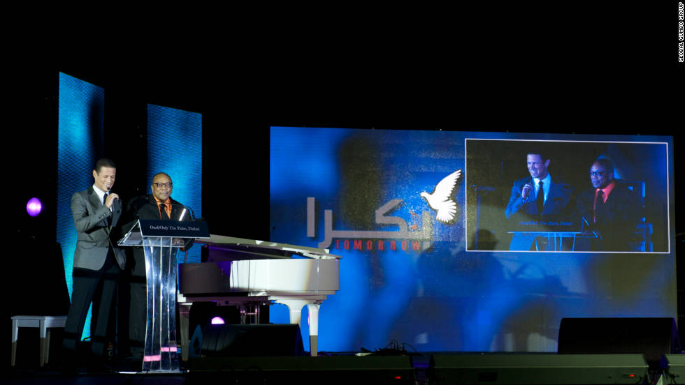 Badr Jafar and Quincy Jones at the official launch of the song on the Dubai Palm on 11.11.11.