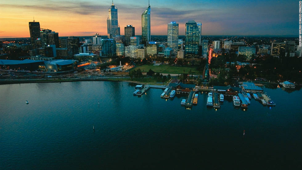 The capital city of Western Australia, Perth, sits on the Swan River -- a perfect place to soak in the skyline.