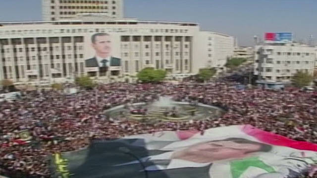 Pro-Assad Damascus demo after sanctions