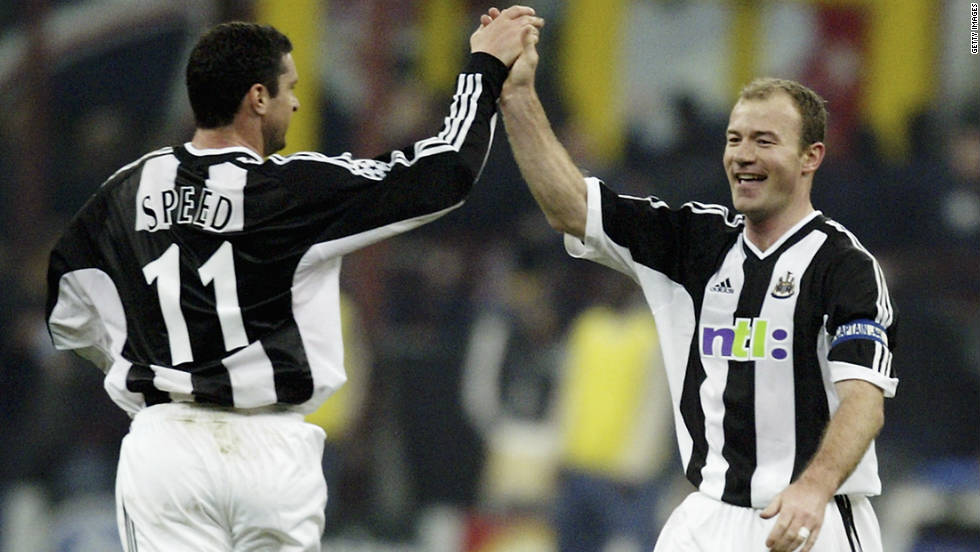 "Under the late Bobby Robson, Speed played in the European Champions League for Newcastle, congratulating Alan Shearer here on his goal against Inter Milan. Shearer said he was ""proud to call Gary Speed a friend."""