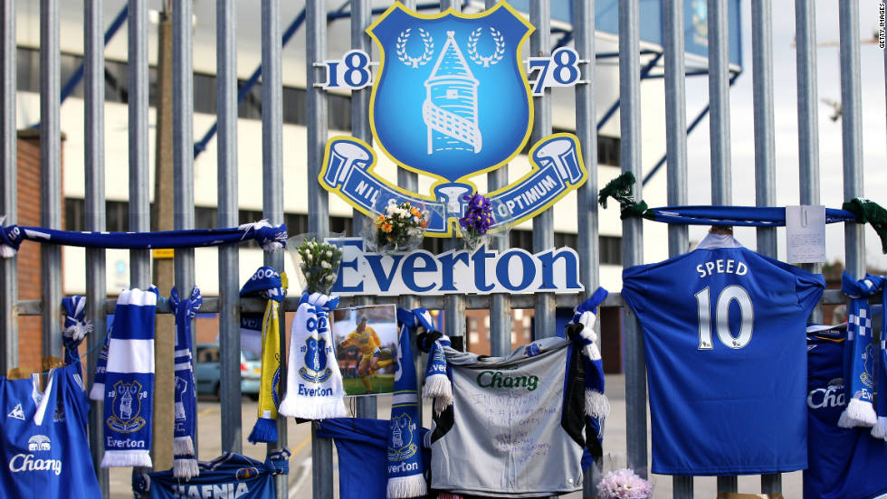 Tributes to Speed appeared at all the clubs he represented, like here at Everton's Goodison Park stadium in Liverpool.