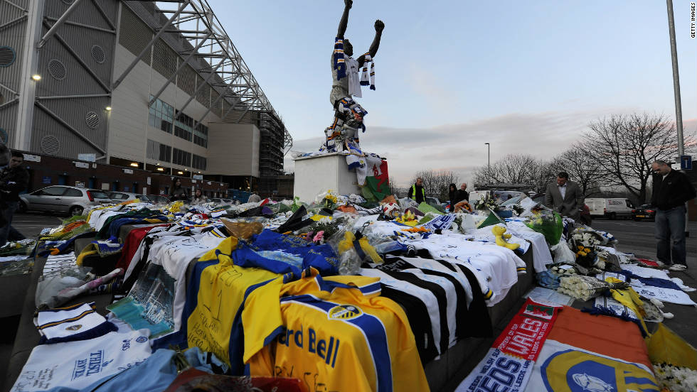 Tributes swamped Leeds United's Elland Road ground as fans struggled to take in news of his death.