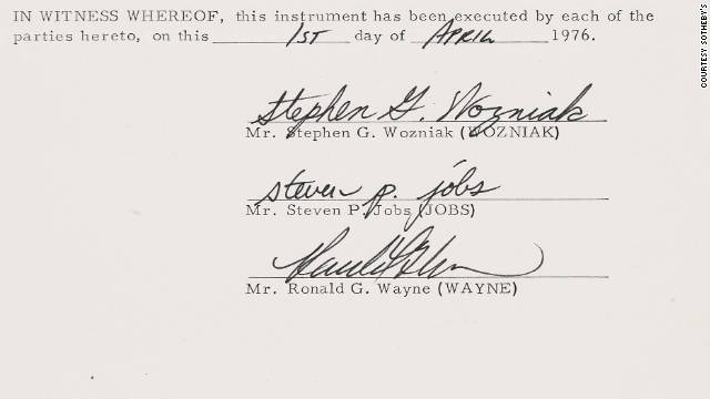 "The documents were signed by Steve Jobs, Steve Wozniak and ""forgotten founder"" Ron Wayne."