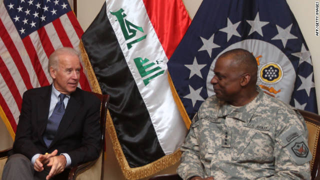 US Vice President Joe Biden (L) meets with General Lloyd Austin, the commander of United States Forces - Iraq (USF-I), and US ambassador in Iraq James Jeffrey (unseen) at the US embassy upon the former's arrival at Baghdad on a surprise visit on November 29, 2011, during which he is due to meet top Iraqi officials, as American troops depart Iraq ahead of a year-end deadline. AFP PHOTO/AHMAD AL-RUBAYE (Photo credit should read AHMAD AL-RUBAYE/AFP/Getty Images)