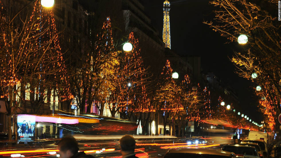 Paris really lives up to its dazzling reputation during the Christmas season. Here, Avenue Montaigne sparkles at night.