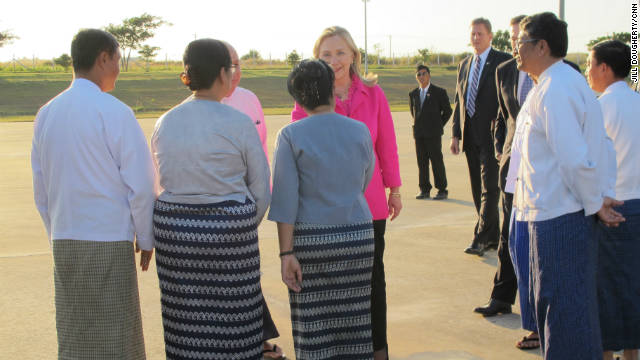 Clinton lands in Myanmar